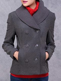 Elegant Fashion Korean Women Long Sleeve Turndown Neck Gray Coats