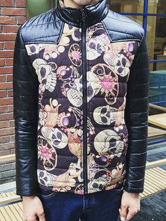 Korean Punk Style Men Long Sleeve Skull Pattern Stand Neck Coats