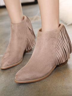 Stylish Pointed-toe Fringed Decor Chunky Heel Solid Zipper Women Boot