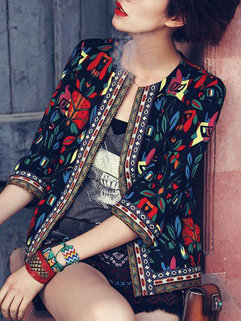National Style Fashion Women Floral Printing Long Sleeve Vintage Coats