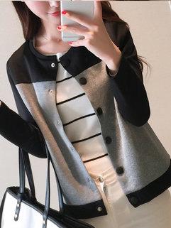 Simple Design Korean Women Long Sleeve Color Block Single-breasted Coats