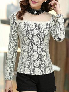 Korean New Design Women Long Sleeve Patchwork Stand Neck Blouse