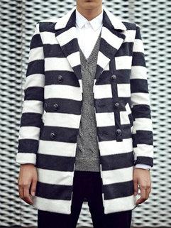 Korean Fashion Winter Men Long Sleeve Striped Turndown Neck Double-breasted Coats
