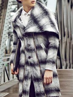 Brand New Fashion Vintage Men Long Sleeve Striped Turndown Neck MD-Long Woolen Coats