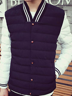Best Quality Men Thickened Long Sleeve Fall Color Matching Cotton Winter Coat