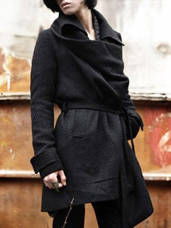 Korean Punk Style Fashion Men Turndown Neck Long Sleeve Cardigan Black Coats