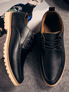 British Style Business Men Solid Color Round-toe Shoes
