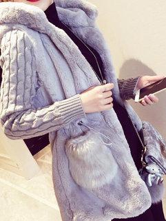 Korean Winter Fashion Women Long Sleeve Hooded Neck Pockets Vintage Cardigan Sweater