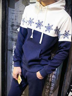 Japanese Street Men Long Sleeve Printed Hooded Collar Casual Activewear