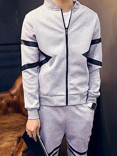 Korean Men Long Sleeve Stand Collar Thicken Warm Casual Activewear