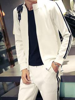 Outlet Men Long Sleeve Outdoor Stand Collar Zipper Up Sport Handsome Activewear