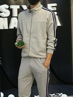 Simple Style Men Long Sleeve Outdoor Stand Collar Zipper Up Sport Activewear