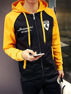 Unique Men Long Sleeve Patchwork Outdoor Hooded Collar Zipper Up Sport Activewear