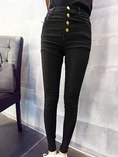 Korean Simple Design Women Long Skinny Buttons Casual Leggings