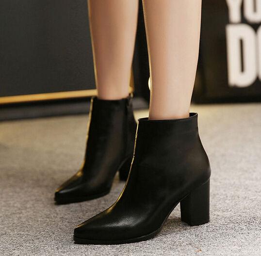 Elegant Style Pointed-toe Chunky Heel Zipper Chic Women Online Boot