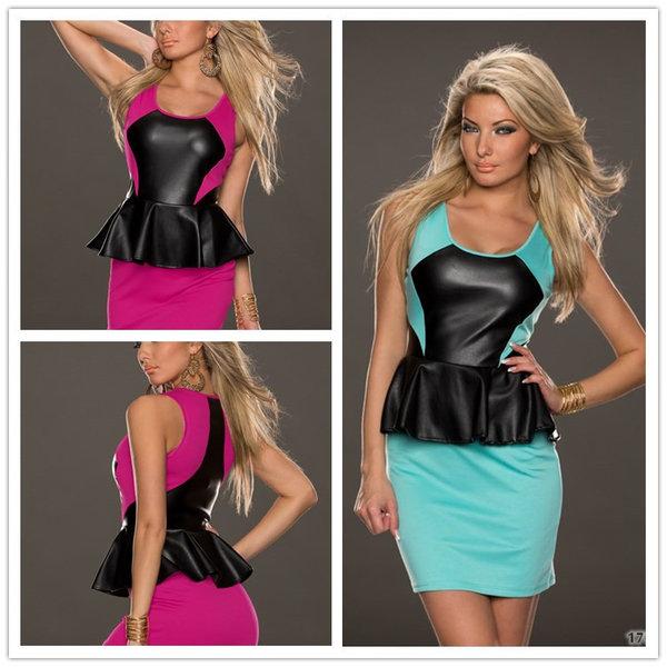 Hot Sale Sexy Women Ruffle Mini Scoop Neck Patchwork Club Wear Sleeveless Dress