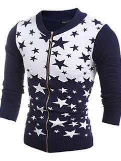 Wholesale Men Star Printed Fall Long Sleeve Zipper Up Sweater Cardigan