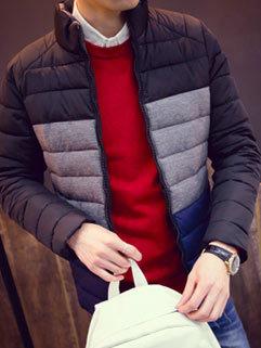 Popular Men Long Sleeve Stand Collar Outdoor Color Block Pattern Cotton Winter Coat