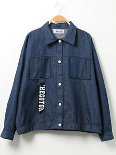 HK Style Loose-fitting Patch Work Lapel Long Sleeve Denim Jacket