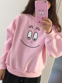 Hot Selling Korean Fashion Women Long Sleeve Cartoon Printing Pink Hoodies