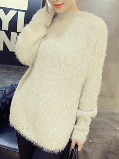 Simple Design Korean Women Long Sleeve Crew Neck Loose Mohair Sweater