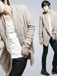 British Style Men Long Sleeve Solid Color Irregular Hem Flower Hemp All Match Cardigan Sweater
