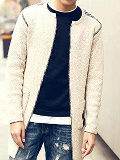 Fresh Style Men Outdoor Long Sleeve Jacquard Weave Cardigan Long Sweater