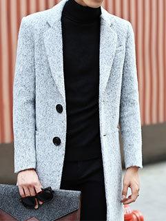 British Style Men Outdoor Long Sleeve Turndown Collar Single-breasted Warmest Winter Coats