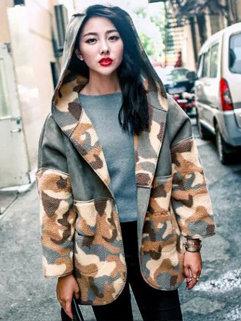 Korean Fashion Women Camouflage Pattern Hooded Neck MD-Long Coats