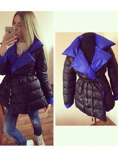 Wholesale Women Turndown Collar Long Sleeve Color Block Top Shop Coats