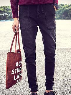 Casual Style Men Jeans Solid Slim Fitness Harem Zipper Fly Black Long Pants