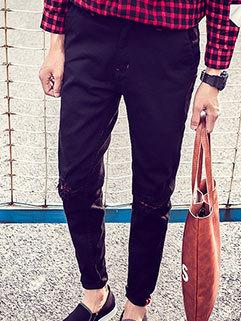 Stylish Men Jeans Slim Fitness Zipper Fly Mid Waist Hole Black Pants