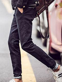 Korean Style Men Slim Fitness Zipper Fly Mid Waist Black Cool All Match Long Pants
