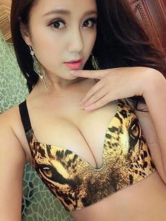 Best Selling Leopard Print Wire Free Sexy V Neck Women Bra Sets