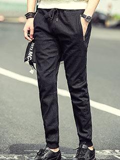 Low Cost Men Jeans Black Drawstring Straight Slim Fitness Fall Long Pants