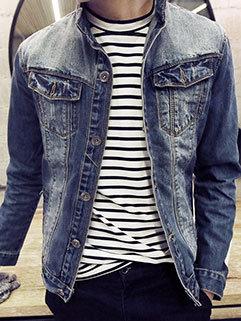 Fresh Style Men Slim Fitness Turndown Collar Pocket Decorated Denim Jacket For Sale