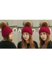 Simple Design Korean Women Ball Décor Knitting Casual Hat