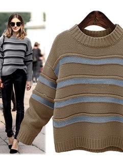 Simple Design Korean Women Striped Crew Neck Cheap Long Sleeve Sweater