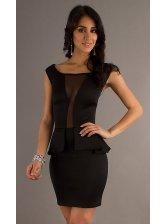 Popular Series Women O-neck Patchwork Color Block Ruffle Sleeveless Dress