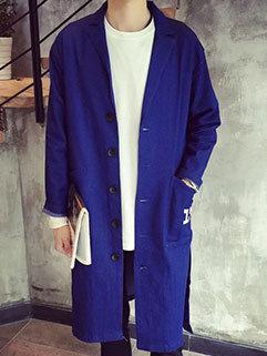 Popular Series Men Long Sleeve Turndown Collar Single-breasted Long Denim Coat