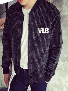BF Style Men Long Sleeve Zipper Up Vertical Stripe Cheap Short Coat