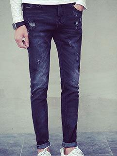 Wholesale Men Pencil Straight Zipper Fly All Match Hole Color Block Cheap Jeans