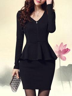 Hot Selling Women V Neck Flounced Elegant Long Sleeve Dress
