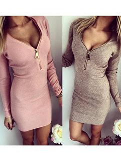 Wholesale Simple Design Women Long Sleeve V Neck Bodycon Dresses