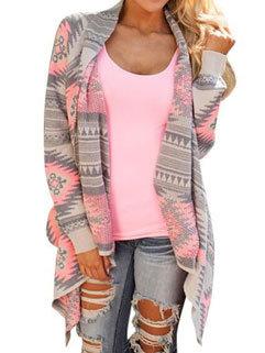 Hot Selling Korean Fashion Women Striped Asymmetrical Hem Cardigan Sweater