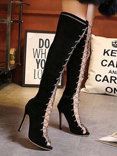 Individual Design Black Peep Hollow Out Metal Chain Women Cheap Shoes Online