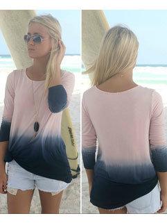 Wholesale Cheap Design For Women Gradient Crew Neck Long Sleeve T-Shirt