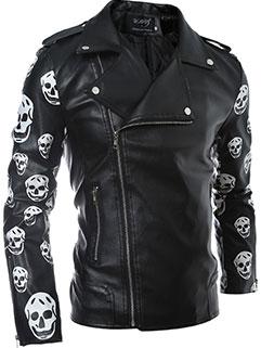 Factory Outlet Men Zipper Up Turndown Collar Skull-printed Black Leather Jackets