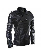 Popular Series Men Zipper Up Turndown Collar Patchwork Black Leather Jackets