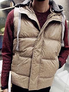 Newest Winter Design Men Hooded Collar Sleeveless Solid Thicken Warm Vest